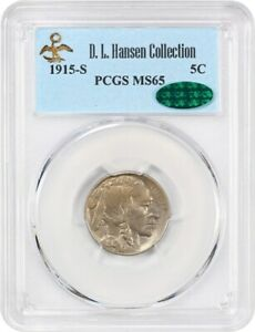 Click now to see the BUY IT NOW Price! 1915 S 5C PCGS/CAC MS65 EX: D.L. HANSEN   LOVELY GEM   BUFFALO NICKEL