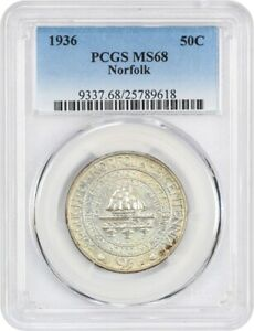 1936 NORFOLK 50C PCGS MS68   LOW MINTAGE ISSUE   SILVER CLASSIC COMMEMORATIVE