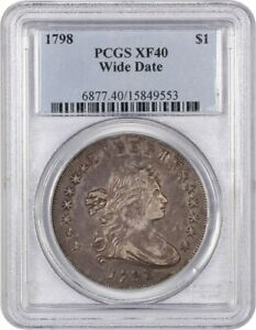 1798 LARGE EAGLE $1 PCGS XF40  WIDE DATE  BUST SILVER DOLLAR