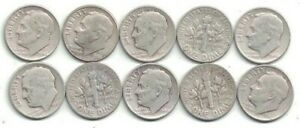 TEN 1948 D CIRCULATED SILVER ROOSEVELT DIMES AT NEAR THEIR SILVER MELT VALUE