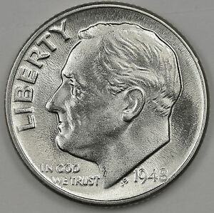 1948 D ROOSEVELT DIME. 100  FULLY SEPARATED HORIZONTAL BANDS. B.U. INVENTORY G