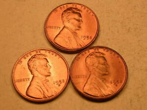 1952 P D S  CHOICE/GEM BU CHERRY RED LINCOLN CENT  SET OF 3  GROUP44