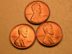 1952 P D S  CHOICE/GEM BU CHERRY RED LINCOLN CENT  SET OF 3  GROUP45