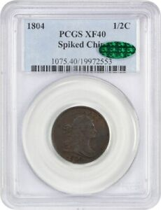 1804 1/2C PCGS/CAC XF40  SPIKED CHIN    DRAPED BUST HALF CENTS  1800 1808