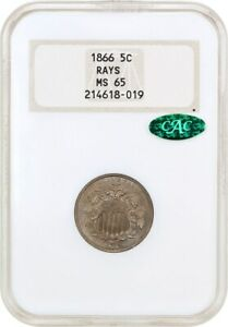 1866 5C NGC/CAC MS65  WITH RAYS OH  OLD NGC HOLDER   SHIELD NICKEL