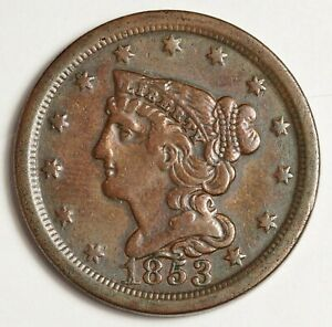1853 HALF CENT.  ABOUT X.F.  144934