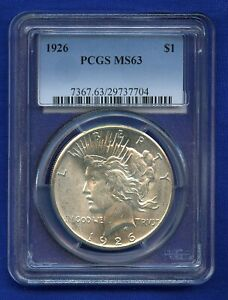 1926 P PCGS MS63 PEACE SILVER DOLLAR $1 US MINT PCGS 1926 P MS 63 SUPER PQ COIN