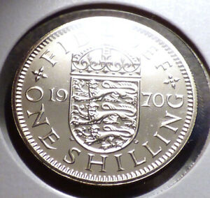 GREAT BRITAIN 1 SHILLING 1970 PROOF QEII COIN W/ CROWNED ENGLISH SHIELD KM 904
