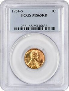 1954 S 1C PCGS MS65 RD   LINCOLN CENT