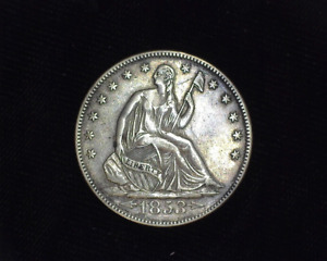 HS&C: 1853 ARROWS AND RAYS LIBERTY SEATED HALF DOLLAR XF   US COIN