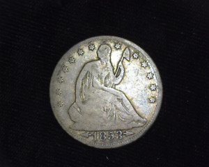 HS&C: 1853 ARROWS AND RAYS O LIBERTY SEATED HALF DOLLAR VG   US COIN