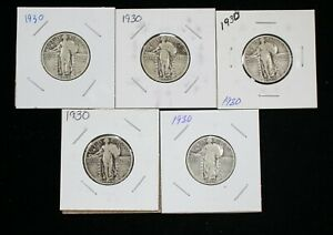 LOT OF 5 1930 STANDING LIBERTY SILVER QUARTERS   04482