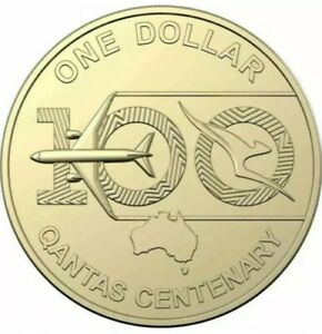 AUSTRALIA 2020 $1 UNC COIN QANTAS CENTENARY 100 YEARS  TAKEN FROM RAM MINT BAG