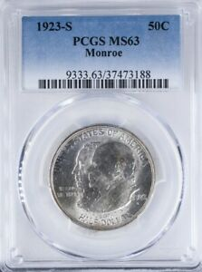 1923 S COMMEMORATIVE HALF PCGS MS63 MONROE