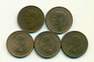 5 OLDER 1 FARTHING COINS FROM GREAT BRITAIN WITH CONSECUTIVE DATES OF 1951 1955