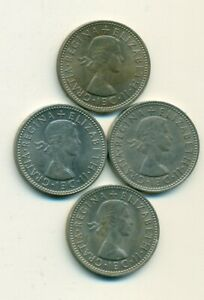 4   1 SHILLING COINS..GREAT BRITAIN..1962 1963 1964 & 1965..SCOTTISH VARIETY