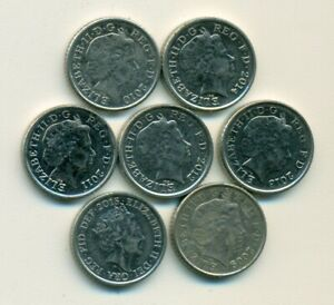 7 DIFFERENT 5 PENCE COINS FROM GREAT BRITAIN WITH CONSECUTIVE DATES OF 2009 2015