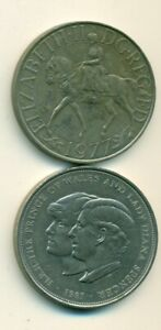 2 LARGE 25 NEW PENCE COINS FROM GREAT BRITAIN   1977 & 1981  2 TYPES