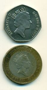 2 COINS FROM GREAT BRITAIN   50 PENCE & BI METAL 2 POUND  BOTH DATING 1997