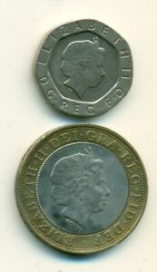 2 COINS FROM GREAT BRITAIN   20 PENCE & BI METAL 2 POUND  BOTH DATING 1999