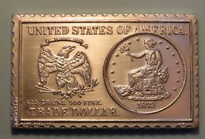 1873 UNITED STATES TRADE DOLLAR NUMISTAMP MEDAL COIN 1976 MORT REED LIMITED B