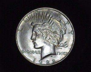 HS&C: 1922 D PEACE DOLLAR BU CHOICE   US COIN