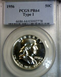 1956 PCGS PR64  TYPE 1 RV. CH/ GEM PROOF FRANKLIN HALF DOLLAR ERROR COIN  NR