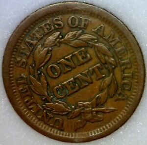 1853 AU   2 ERROR   ROTATED REV.   BROAD STRUCK LARGE CENT COPPER COIN SB  NR