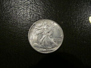 ERROR 1943 WALKING LIBERTY HALF   R MISSING IN DOLLAR FILLED DIE