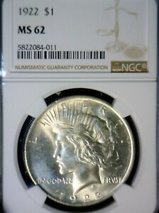 1922 NGC MS62 ERROR BOLD BASE OF BUST DIE CRACK $1 PEACE SILVER DOLLAR COIN  NR