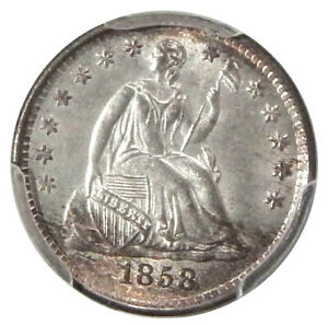 1858 H10C PCGS MS 64 CAC   PQ HIGH END SEATED LIBERTY HALF DIME