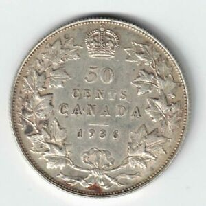 CANADA 1936 50 CENTS HALF DOLLAR KING GEORGE V .800 SILVER COIN CANADIAN