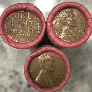1909 1958 WHEAT PENNY ROLL   FROM SEALED DUNBAR BOX   MIXED DATES