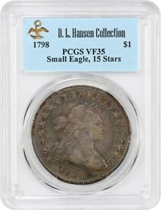 Click now to see the BUY IT NOW Price! 1798 SMALL EAGLE $1 PCGS VF35  15 STARS OBVERSE  EX: D.L. HANSEN