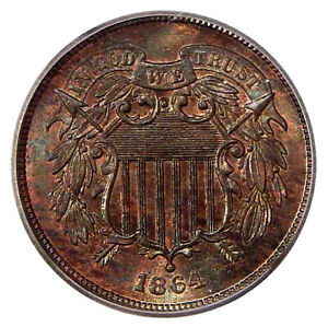 Click now to see the BUY IT NOW Price! 1864 LG MOTTO 2C ICG MS 65 RB FS 1303 RPD   2 CENT COPPER REPUNCHED DATE VARIETY