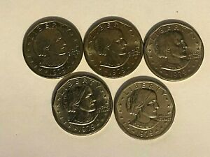1979 P SUSAN B ANTHONY DOLLAR WIDE RIM NEAR DATE ERROR VARIETY LOT OF 5 NICE