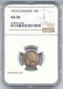 CANADA 1910 SILVER 10C TEN CENTS COIN NGC CERTIFIED AU 58 W NICE NATURAL TONING