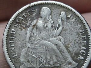 1872 OR 1882 SEATED LIBERTY SILVER DIME  FINE/VF DETAILS
