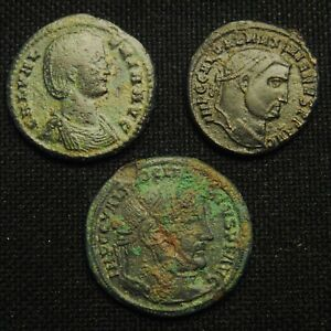Click now to see the BUY IT NOW Price! THREE ROMAN TETRARCHY FOLLES GALERIA VALERIA DIOCLETIAN GALERIUS 22.37 GR TOTAL