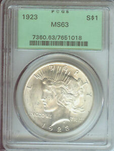1923 PEACE SILVER DOLLAR  PCGS MS63 OGH OLD GREEN HOLDER  BEAUTIFUL