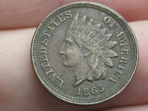 1863 COPPER NICKEL INDIAN HEAD CENT PENNY  XF/AU DETAILS