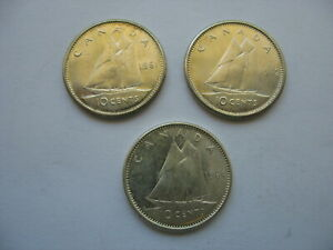 CANADA 10 CENT COINS   LOT OF 3 DIFFERENT DATES   QUEEN ELIZABETH II