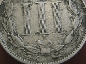 1872 THREE 3 CENT NICKEL  FINE/VF DETAILS