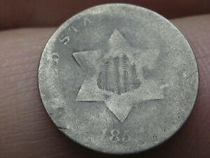 1851 1853 THREE 3 CENT SILVER TRIME