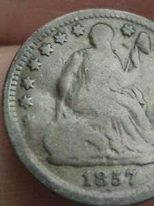 1857 P SEATED LIBERTY HALF DIME  GOOD DETAILS
