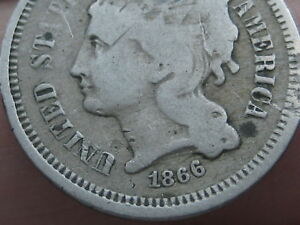 1866 THREE 3 CENT NICKEL  VG DETAILS