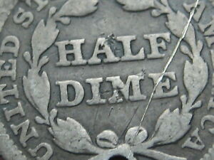 1854 P SEATED LIBERTY HALF DIME  WITH ARROWS GOOD DETAILS