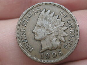 1905 INDIAN HEAD CENT PENNY VF DETAILS PARTIAL LIBERTY CHOCOLATE BROWN