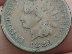 1883 INDIAN HEAD CENT PENNY VG DETAILS FULL DATE