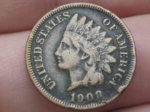 1908 INDIAN HEAD CENT PENNY VF DETAILS PARTIAL LIBERTY